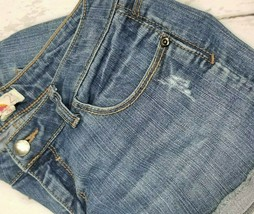Forever 21 Womens Shorts Size 28 Cuffed Jean Shorts Distressed Denim Mid... - $12.65