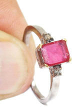 Victorian 0.20ct Rose Cut Diamond Ruby Bridal Craftsmanship Ring - $252.45