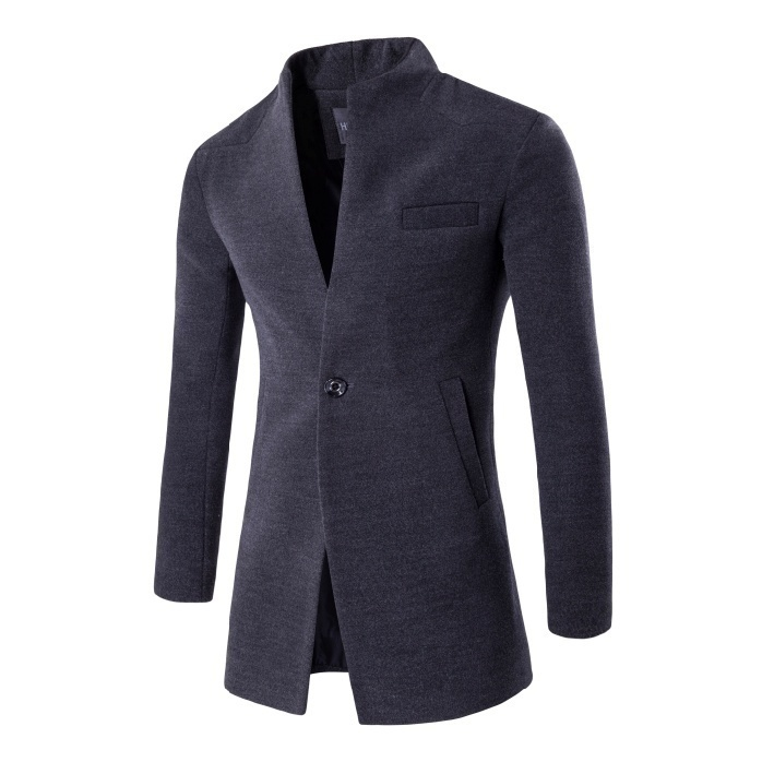 2018 New Fashion Mens Wool Coat Slim Cardigan Coat