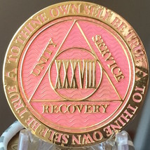 38 Year AA Medallion Pink Gold Plated Alcoholics Anonymous Sobriety Chip... - $17.99