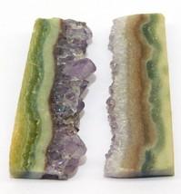 Amethyst Slice Natural Loose Gemstone Cabochon Lot Purple 72Cts. 2Pcs 25298 - $10.39