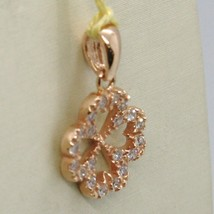 18K ROSE GOLD LUCKY FOUR LEAF PENDANT CHARM CUBIC ZIRCONIA BRIGHT, MADE IN ITALY image 2