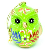 Handcrafted Painted Ceramic Green Owl Confetti Ornament Made in Peru