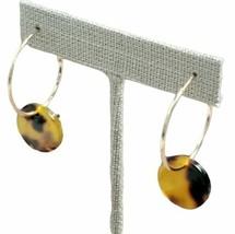 Gold & Tortoiseshell Disc Hoop Earrings Boho Fashion Costume Jewelry Gift - $14.99