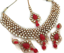 New Indian Gold Plated Fashion Red Kundan Bridal Necklace Earrings Jewelry Set - $31.99