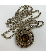 Vintage Avon Locket Amber Topaz Tone Center Gold Tone Filigree Round Long - $13.33
