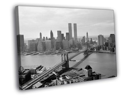 Brooklyn Bridge Manhattan BW 20x16 Framed Canvas Print - $19.95+
