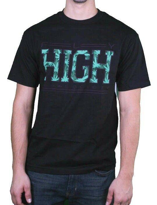 Fly Society Uomo Nero Maui Wowie Erba Fumare Marijuana Aviatore Alto T-Shirt Nwt