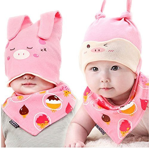 Baby Multifunctional Toddler Soft Infant Cotton Hat 0-18Months(Pink)