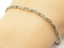925 Sterling Silver - Vintage Petite Braided Style Chain Bracelet - B4958 - $25.34