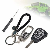Athiry Leather Remote Control Key Fob Cover Case Protector Fit for 2017 Jeep Wra