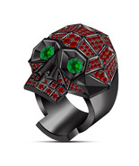 10k Black GP 925 Silver Green Sapphire & Red Garnet Punk Floral Skull Bi... - $119.17