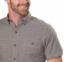 NEW G.H. Bass & Co. Men's Short Sleeve Crosshatch Woven Shirt - Pewter image 3