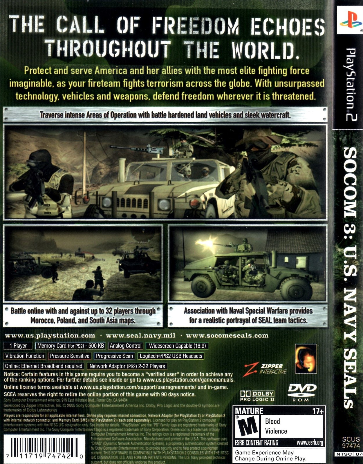 Playstation 2 - SOCOM 3 U.S. NAVY SEALS (Complete with Instructions)