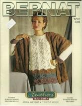 Bernat Heathers 1272 Knitting Pattern Womens Sweater Pullover Shawl Card... - $9.99