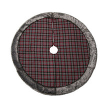 Darice Plaid Christmas Tree Skirt with Fur: Red/Black, 48 inches w - $54.99