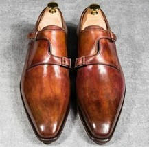 Handmade Men's Brown Leather Monk Strap Double Monk Shoes image 2