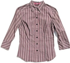 lot 2 dress shirts button 3/4 sleeve fitted stripe Old Navy size XS Express sz 2 image 2