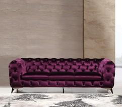 VIG Divani Casa Delilah Purple Velour Fabric Sofa Modern Traditional - $31.190,57 MXN