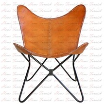 Butterfly Hand Made Chair Brown Leather Arm Chairs Hardoy Knoll Cover Frame - $207.90