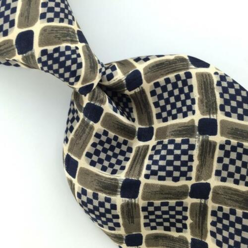 Primary image for LANNE ROSSI CHECKERED GRID BEIGE NAVY BLUE Silk Men Necktie I4-310 EUC Ties