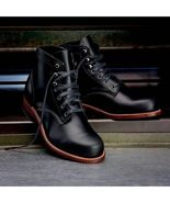 Handmade Men Black Casual Leather Ankle Boots Men Lace Up Ankle High Boots - $179.99
