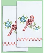 Jack Dempsey Cardinal Flowers Stamped Embroidery Guest Hand Towel Kit 32... - $24.95