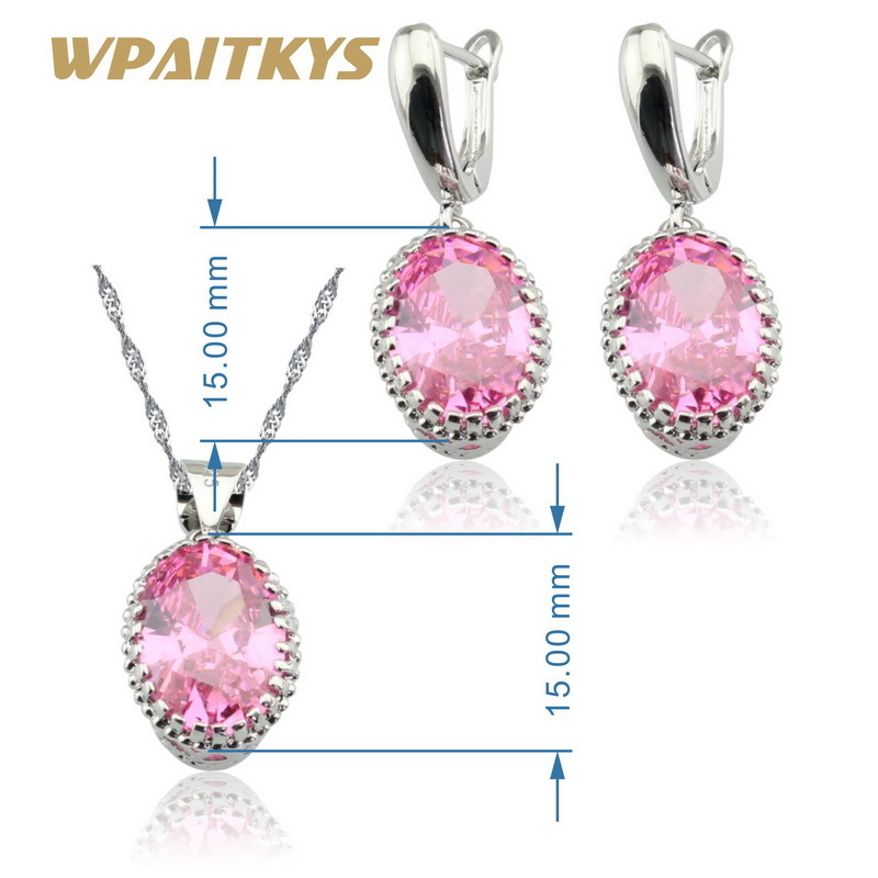 Pink Cubic Zirconia 925 Sterling Silver Jewelry Sets Necklace Pendant Earrings B