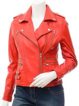 QASTAN Women's New Stunning Red Biker Sheep Leather Jacket QWJ41B - $149.00+