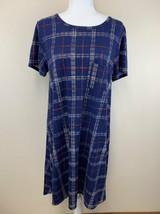 Lularoe M Navy Blue Cream Red Orange Thin Plaid Carly Dress - $19.99