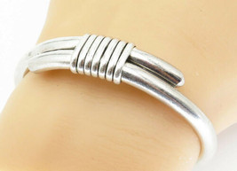 MEXICO 925 Silver - Vintage Wrapped Detail Shiny Smooth Cuff Bracelet - ... - $70.27