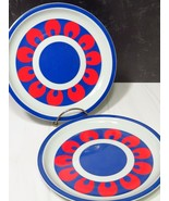 "2 Block Hearthstone Chili Vista Alegre 8"" Salad Dessert Plates Red White... - $23.76"