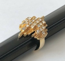 Estate Clear Rhinestone Textured Gold Tone Face Adjustable Ring Size 7.5 + - $14.12