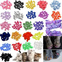 140pcs Pet Cat Kitty Soft Claws Caps Control Soft Paws of 4 Glitter Colo... - $12.00