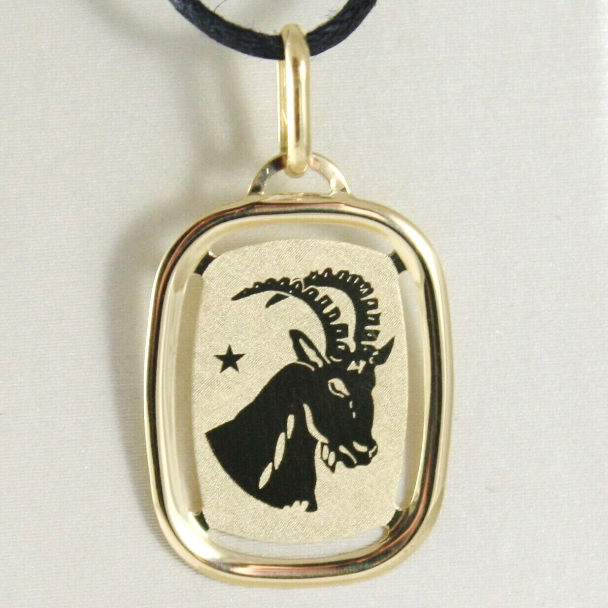 SOLID 18K YELLOW GOLD CAPRICORN ZODIAC SIGN MEDAL PENDANT ZODIACAL MADE IN ITALY
