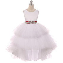 White Satin Bodice Hi-Low Layers Tulle Skirt Rhinestone Burgundy Sash Gi... - $89.95+