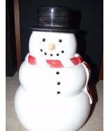 "Williams Sonoma Holiday Christmas SNOWMAN Ceramic COOKIE JAR White 12"" Tall - $24.99"