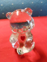 Beautiful FENTON Crystal RED HEART Birthday TEDDY BEAR Figurine     SALE - $21.78