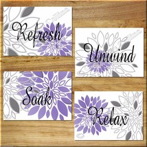 Purple Gray Wall Art Prints Bathroom Decor Dahlia Flower Floral Bath Quote RELAX - $13.99