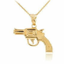 14k Solid Yellow Gold Revolver Pistol Gun Pendant Necklace - $207.80+