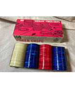 """(100) Vintage """"CATALOX"""" Red, White & Blue Translucent Marble Poker Chips... - $14.84"""