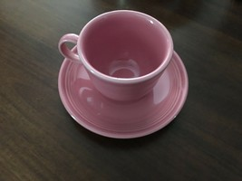 Fiesta Cup and Saucer in Rose By Homer Laughlin - $8.90