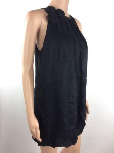 bebe Sleeveless Casual Mini Dress Women's 100% Silk Black Size S Small (P3)