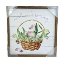 Welcome Spring Framed Wood Picture Basket of Iris Flowers White & Brown ... - $18.68