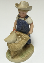 HOMCO Denim Days #1501 Morning Chores Figurine Danny Wheelbarrow 1985 Home Inter - $12.99