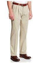 NEW Lee Men's Stain Resistant Relaxed Fit Pleated Pant, Khaki, 34W x 34L Slacks - $19.06