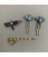 Small Hair Barrette Pin Clip Lot Beetle Dragonfly Heart Bobby Pin Rhines... - $11.84