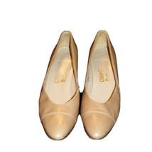 Vintage Salvatore Ferragamo Italy Tan Leather Pumps Shoes sz 9 AA Narrow - $81.64