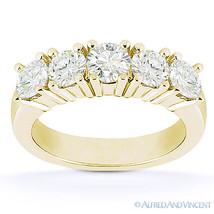 Round Cut Moissanite Five 5-Stone Anniversary Ring 14k Yellow Gold Weddi... - €433,93 EUR