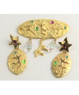 ESTATE VINTAGE 80'S JJ JONETTE JEWELRY SIGNED PEOPLE BROOCH & EARRINGS SET - $65.00